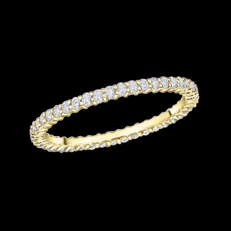 Capricime wedding band, yellow gold and diamonds