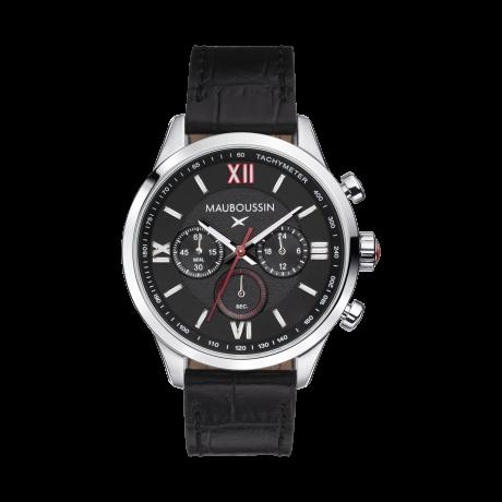 Un Homme une vie chronograph, black dial, calf strap