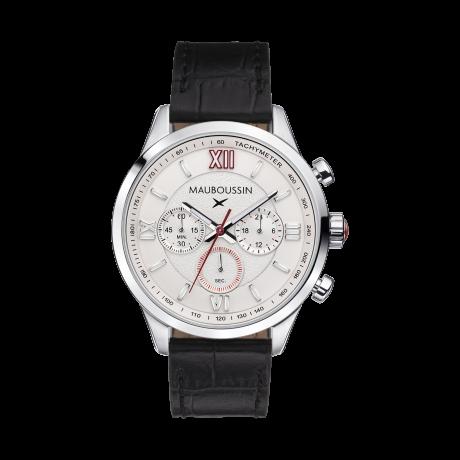 Un Homme une vie chronograph, white dial, calf strap