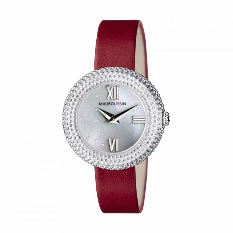 L'heure du Premier Jour Rayonnant, mother of pearl dial, red leather strap