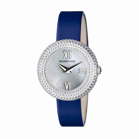 L'heure du Premier Jour Rayonnant, mother of pearl dial, blue leather strap