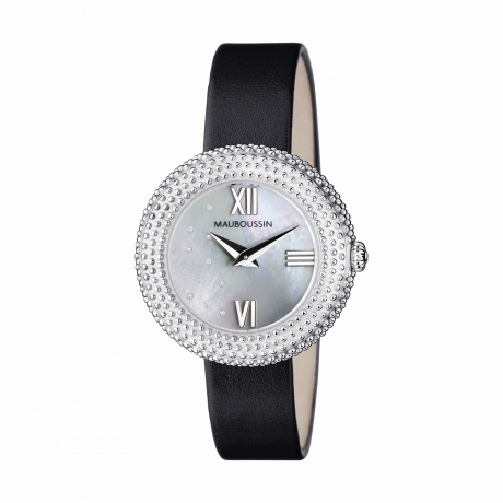 L'heure du Premier Jour Rayonnant, mother of pearl dial, black leather strap