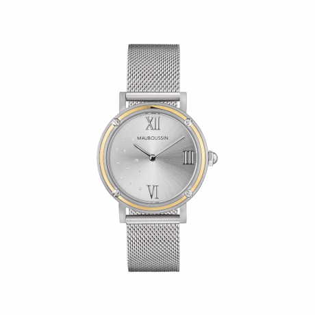 Revendication, Round silver dial with diamonds