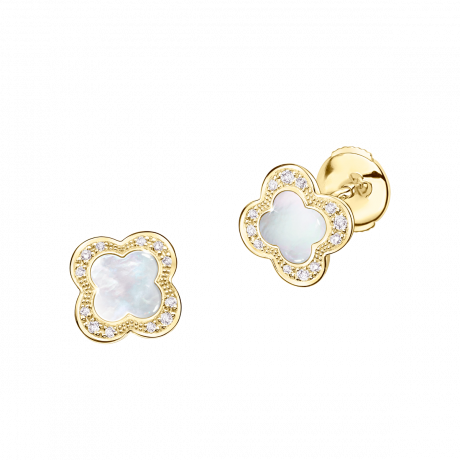 Trèfle de Toi earrings, yellow gold, Mother-of-pearl and diamonds