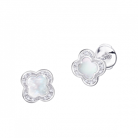 Trèfle de Toi earrings, white gold, Mother-of-pearl and diamonds