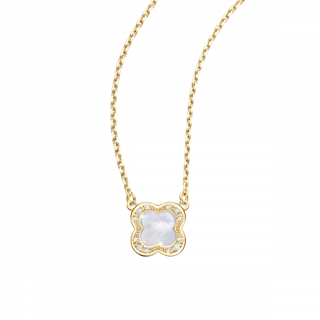 Trèfle de Toi pendant, yellow gold, Mother-of-pearl and diamonds