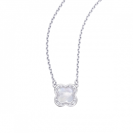 Trèfle de Toi pendant, white gold, Mother-of-pearl and diamonds