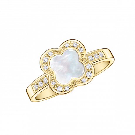 Trèfle de Toi ring, yellow gold, Mother-of-pearl and diamonds