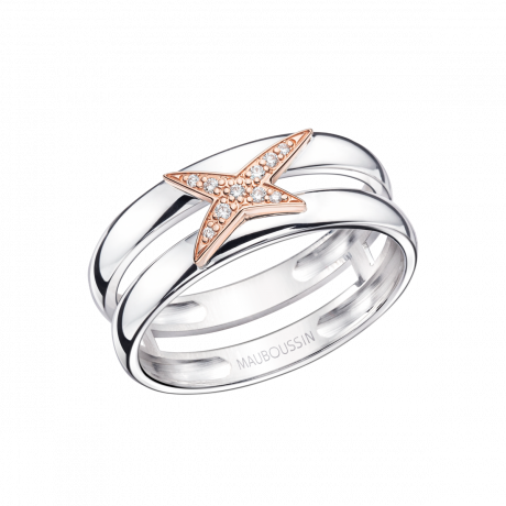 Etoilement D ring, silver, pink gold and diamonds