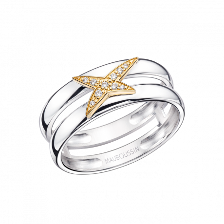Etoilement D ring, silver, yellow gold and diamonds