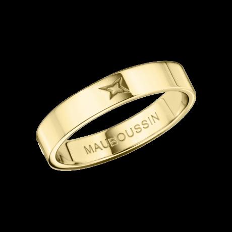 Ruban du Bonheur Mon Amour wedding band, yellow gold, 4mm