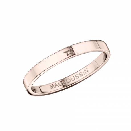 Ruban du Bonheur Mon Amour wedding band, pink gold, 2.5mm