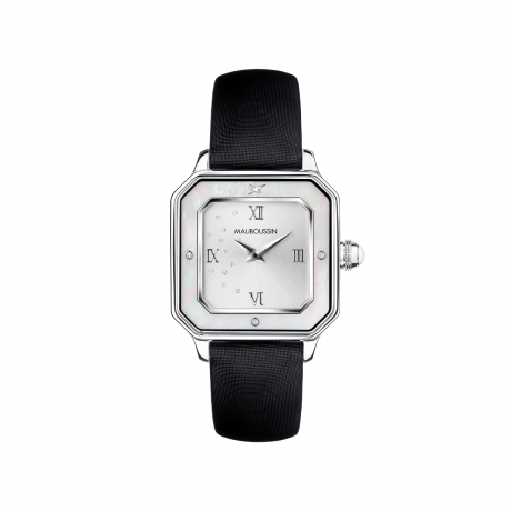 Je t'Adore Jour et Nuit watch, black satin, white square