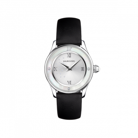 Je t'Adore Jour et Nuit watch, black satin, round white