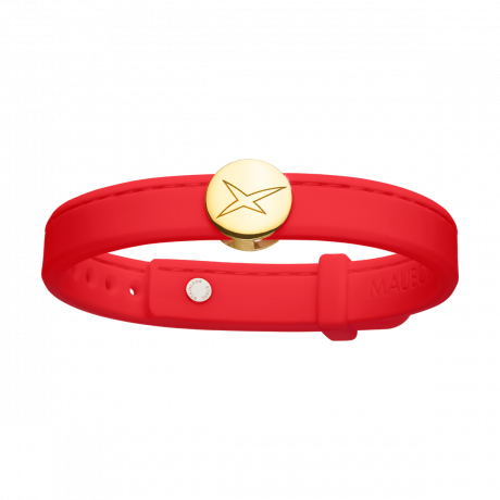 Leonard and Suzan of the Valley red bracelet, yellow gold