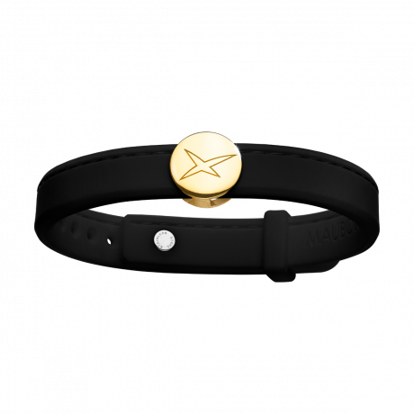 Leonard and Suzan of the Valley black bracelet, yellow gold
